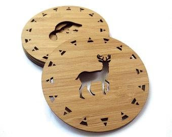 West Coast Wildlife Coasters. Wood Coasters. Lasercut Coasters. Drink Coasters. Wooden Coasters. Housewarming Gift. Hostess Gift. MOV.