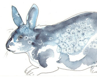 Original Art - Spotted Blue Bunny - Watercolor Rabbit Painting