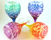Tree of Life Wine Glass Set - Teardrop Style - Frosted and Painted Glassware - Wedding and Anniversary Toasting Glasses