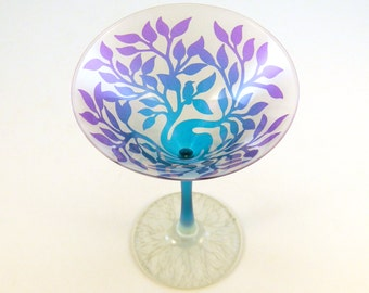 Tree of Life Martini Glasses - Frosted and Painted Glassware - Custom Made to Order