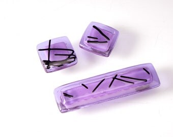 Lavender with black chopsticks glass cabinet knob choose your size