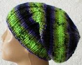 Watch cap, slouchy hat, lime olive citrus green black purple grey tweed stripes, ski hat, biker cap, winter toque, skateboard, men women hat
