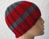 Ribbed beanie hat in charcoal grey, cranberry red stripes, men's hat, women's hat, skull cap, biker cap, ski, snowboard, Made to Order
