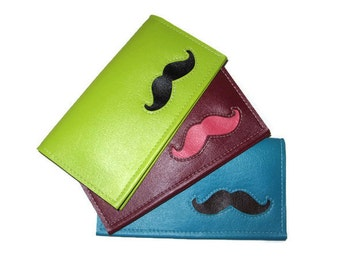 Duplicate Checkbook Cover with Mustache in CUSTOM Colors by Tender Roni *Choose Your Own Colors* Available for Top or Left Tear Checks