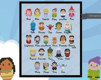 Princesses parody alphabet sampler - Cross stitch PDF pattern