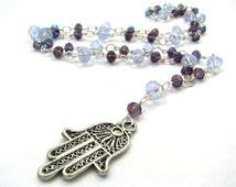 Hamsa Beaded Rosary - Long Silver Charm Necklace w/ Lavender & Plum Purple Crystal Beading - Unisex Layering Necklace, Evil Eye Ward