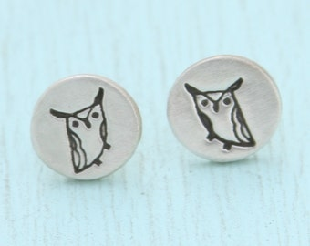 HORNED OWL studs, Illustration by BOYGIRLPARTY, eco-friendly silver earrings.  Handcrafted by Chocolate and Steel.