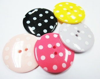 2-hole Jumbo pink, salmon pink, lilac, yellow and black Polka Dot Buttons - 10 pcs SET 2