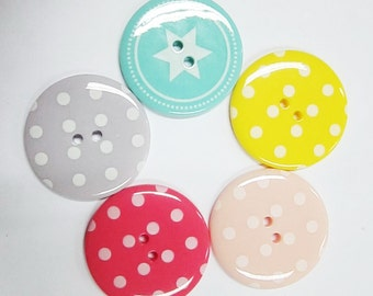2-hole Jumbo pink, salmon pink, lilac, yellow Polka Dot and teal star Buttons - 10 pcs SET 5