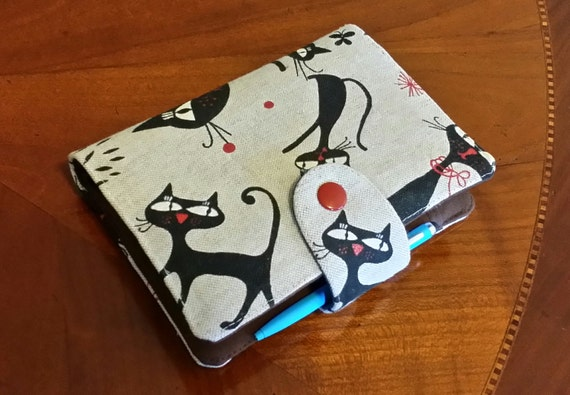 Cat Planner Cover Filofax Binder Pocket size Cover  case Purse size planner wallet cozy  Fabric organiser Filofax Domino personal