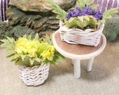 Fairy or gnome Garden miniature wood table with baskets of ferns and flowers