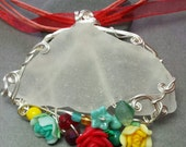 Maine Silver Wire Wrapped Sea Glass Pendant in Frosty White, with Fiesta Green, Red and Yellow Flowers