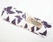 Organic Cotton Muslin Baby Swaddle - Purple Butterfly