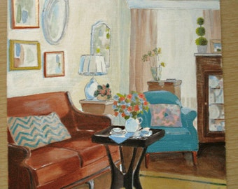 Original Art on masonite panel of still life living room setting