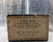 Antique FRENCH Tiny Pharmacy Box - ICARD Pharmacien Marseilles France