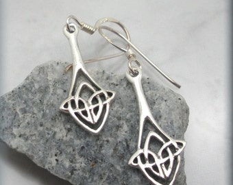 Celtic Knot Earrings, Drop Earrings, Irish Jewelry, Sterling Silver, Irish Knot Earrings (SE609)