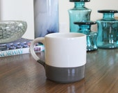 Grey and White Ceramic Mug - SHOP SALE - Colorblock Mug in White and Grey - Pottery Mug 12 Ounces