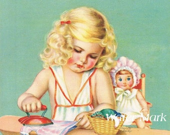 Art print 8 x 10 inches*Little girl doing the ironing*Great image for kitchen or laundry room.So darling