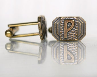 Letter P Cufflinks, Art Deco, Custom Cufflinks, Brass Cufflinks, Choose Any Initials - Weddings, Father's Day Gift - Personalized Cufflinks