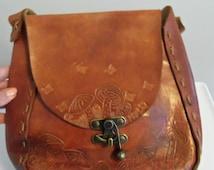 Vintage large hand tooled  brown leather handbag mushrooms butterflies