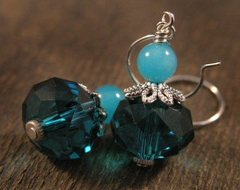Jade stone and turquoise blue large faceted glass beads handmade silver earrings