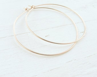 Rose Gold Wire Hoop Earrings Thin Wire Hoops in Pink Gold Spring Trends Jewelry Trend Everyday Earrings Dainty Earing Gifts for Her