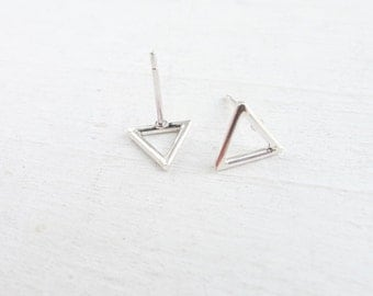 Open Triangle Studs Tiny Triangle Stud Earrings Sterling Silver Post Earing Geometric Jewelry Tri Angle Earring Small Triangles Triangular