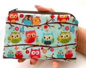 Owls Little Zipper Pouch Coin purse ECO Friendly Padded NEW Blue Flapper Owls