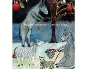 3 Art Cards of Christmas Donkeys and Animals