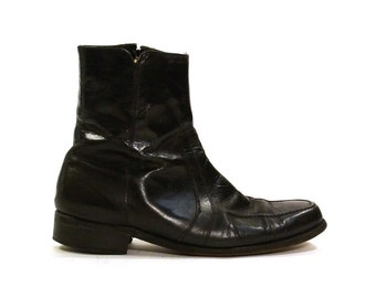 Florsheim Beatle Boots / Black Leather Zip Up Ankle Boots / Vintage 1980s / Men's Size 8.5 or Women's Size 10
