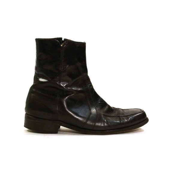 florsheim beatle boots black leather zip up by spunkvintage