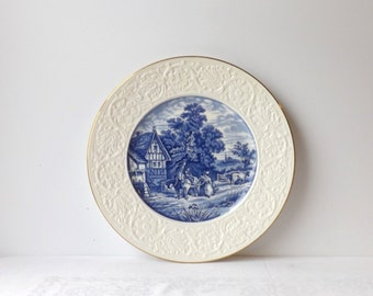 Antique Coalport Pastoral Plate, Flow Blue and White, Porcelain Charger, Cabinet Display, Made in England