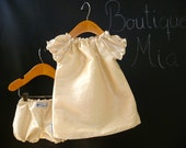 Baptism Outfit - Dupioni Silk - Pick the size Newborn up to 2 Years by Boutique Mia