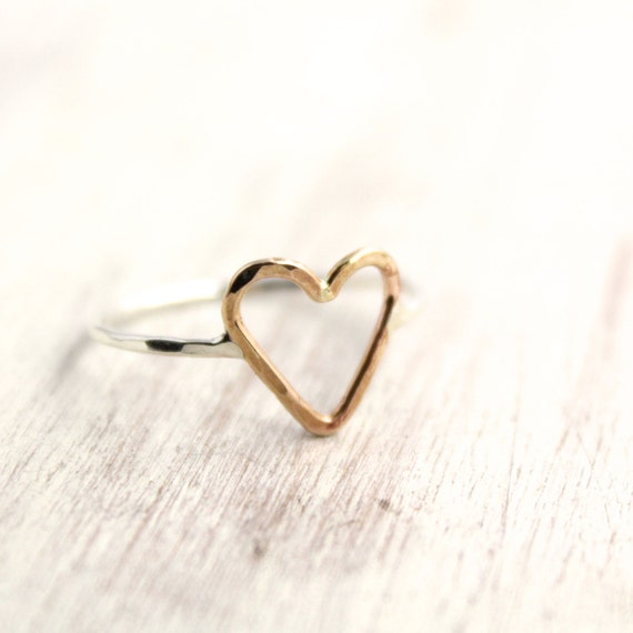 Little Gold Heart and Silver Ring