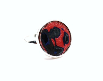 Detroit Fordite Ring Adjustable Sterling Silver Base Vintage Auto Paint Motor City Agate Cherry Red Blue Americana Metallic Swirls Unisex