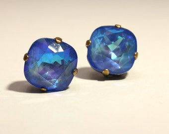 Bright Blue Crystal Stud Earrings Classic Sparkling Deep Sapphire Royal Cobalt Ultra Solitaire Swarovski Indigo Sterling Silver Post Copper