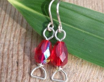 Czech Red Dangle Glass Earrings, handmade jewellery, red earrings, sterling silver