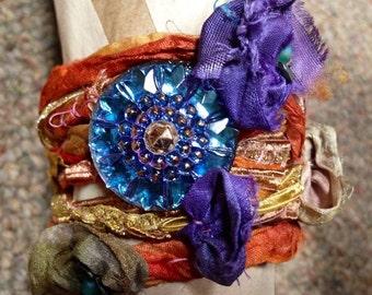 Halloween bracelet Orange Steampunk Jewelry watch parts Boho wrap bracelet  Czech pressed glass button silk flowers artisan jewelry