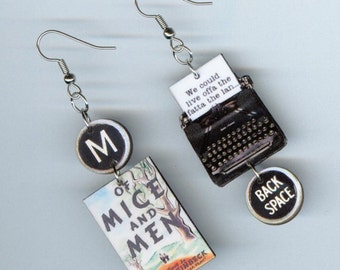 Book Earrings - Of Mice and Men - John Steinbeck Quote - book club literary gift