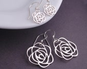 Mother Daughter Earring Set, Matching Mother Daughter Jewelry, Rose Earrings, Mother's Day Gift, Sterling Silver Rose Earrings