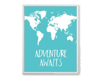 Adventure Awaits - World Map for Kids, Children's World Map Art Print with Quote, Teal Nursery Decor, Kids Wall Art, Nursery Map