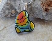 Tiny Heart Pendant, Valentine Jewlery, Fused Glass Heart Pendant, Dichroic Fused Glass Hand Etched  Pendant,   - Small Heart Necklace