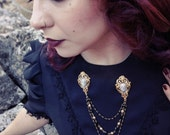 Mourning Jewelry - L'amour de Pierrot Collar Pin - Victorian Style