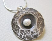Small Unearthed in White, Sterling Silver, Cultured Freshwater Pearl Pendant