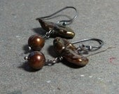 Olive Green Earrings Copper Pearl Earrings Biwa Pearl Earrings Oxidized Sterling Silver Earrings