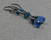 Blue Kyanite Earrings Turquosie Quartz Long Dangle Gemstones Oxidized Sterling Silver Earrings