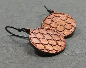 Vintage Copper Charm Earrings Mixed Metals Scallop Pattern Oxidized Sterling Silver Earrings