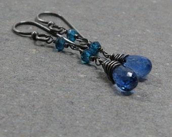 Blue Kyanite Earrings Turquosie Quartz Long Dangle Gemstones Oxidized Sterling Silver Earrings