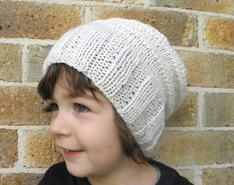 Slouchy hat toddler child boys girls beanie cream white winter slouch 2T-5T 3 4 years old  hand knit preschooler school slouch CHOOSE COLOUR
