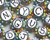 Alphabet Beads--Handmade Lampwork Beads